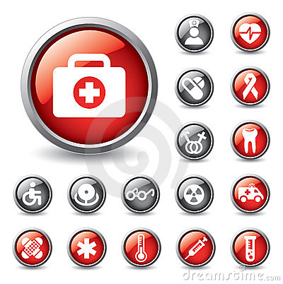 Set of medical icons for web design.