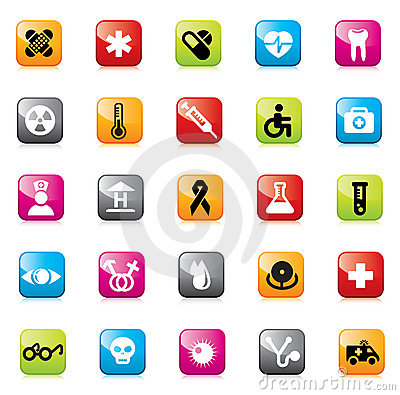 Set of medical icons for web design.