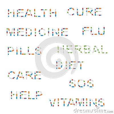 Medicine words with pills