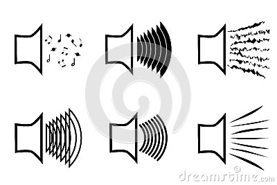 A set of megaphone icons emitting a variety of sound waves. A image of the musical columns from which different sounds burs Vector Illustration