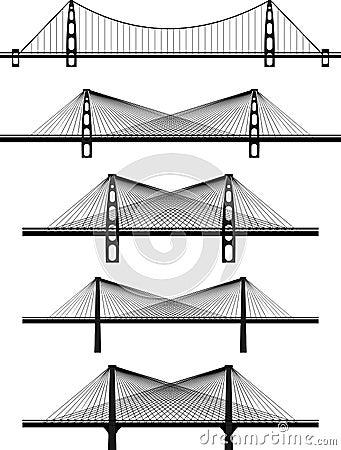 Set of metal cable suspension bridges