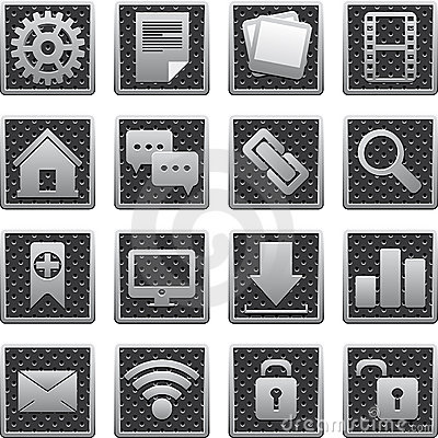 Set of metal icons