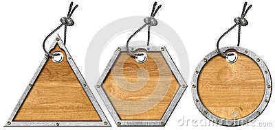Set of Metal and Wood Tags - 3 Items