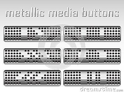 Set of metallic buttons