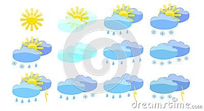Set of meteorology symbols