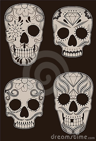 Set of Mexican Sugar Skulls