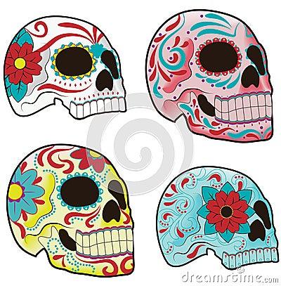 Set of Mexican Sugar Skulls