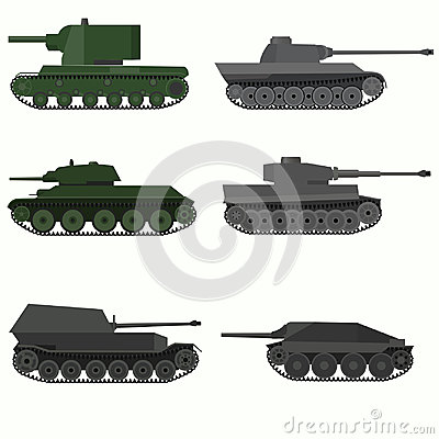 Set of military vehicles and tanks. Vector Illustration