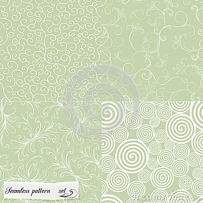 Set of mint seamless patterns