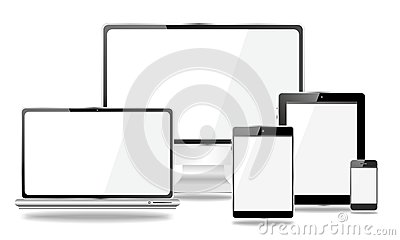 Set of mobile devices, smartphone, tablet pc, laptop