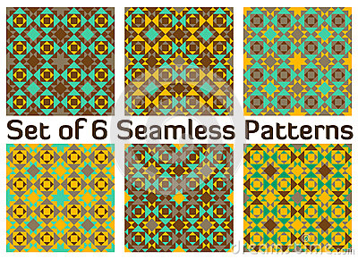 set of 6 modern colorful geometric seamless patterns with