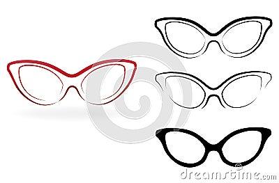 Set of modern glasses