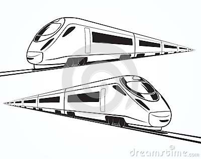 Set Of Modern High Speed Train Silhouettes Stock Vector ...