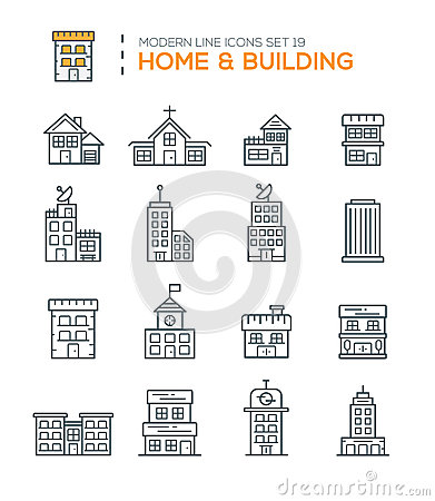 Set Of Modern Line Icons Of Home Building Icons Stock