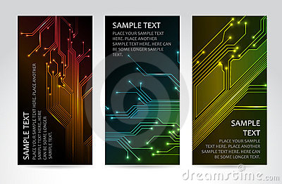 Set of modern technical banners