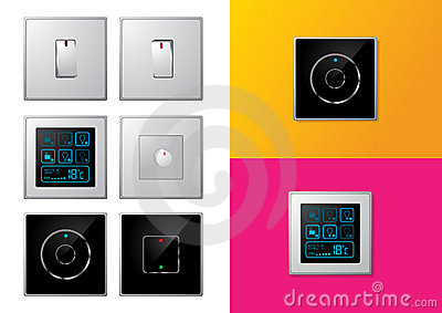 set moderne elektrische schalter stockfotografie bild 18152412. Black Bedroom Furniture Sets. Home Design Ideas