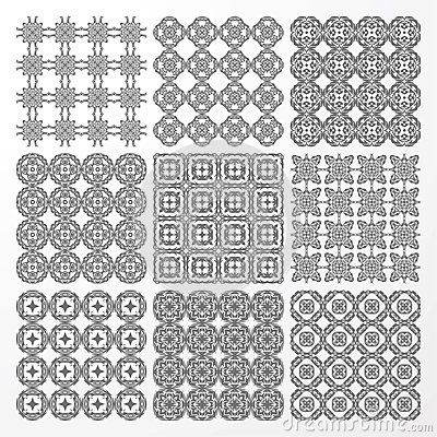 Set monochrome geometrical seamless patterns.