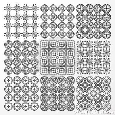 Set monochrome geometrical seamless patterns.