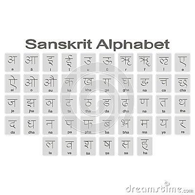 Set Of Monochrome Icons With Sanskrit Alphabet Stock Vector ...