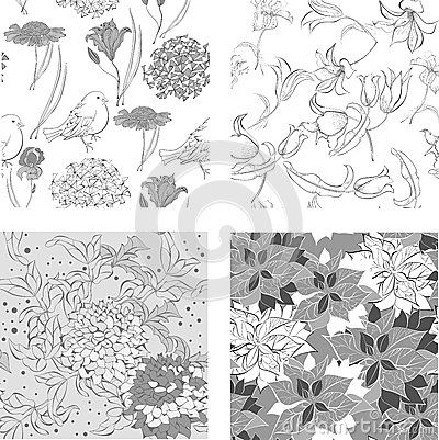 Set of monochrome Seamless wallpaper