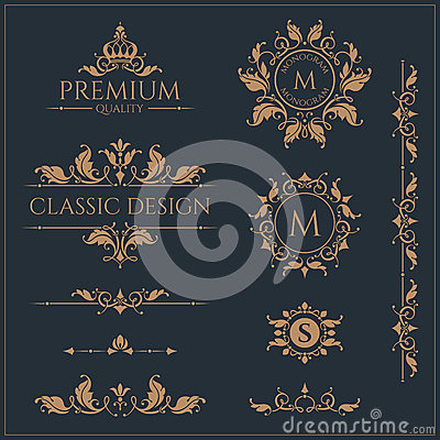 Set of monograms and borders. Graphic design pages. Vector Illustration