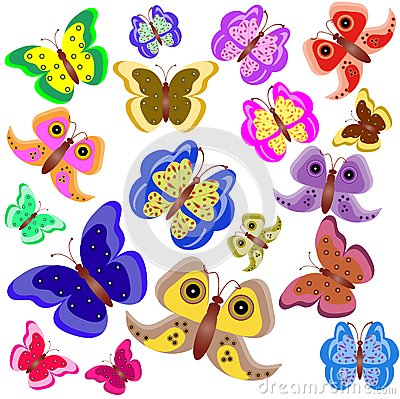 Set Of Motley Butterflies Stock Photos - Image: 15069953