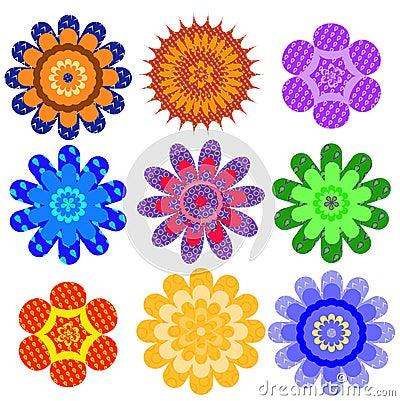 Set of motley geometrical colors