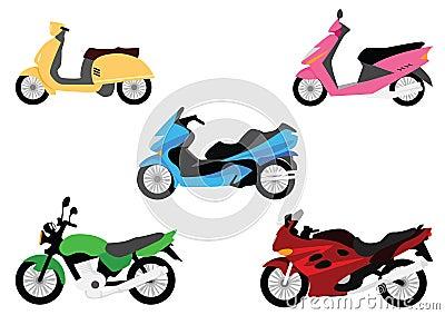 Set of motorbikes