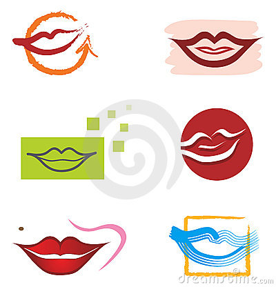 Set of Mouth and Lips Elements for Logo Designs