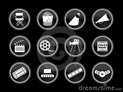 Set of movie or cinema icons Editorial Stock Photo