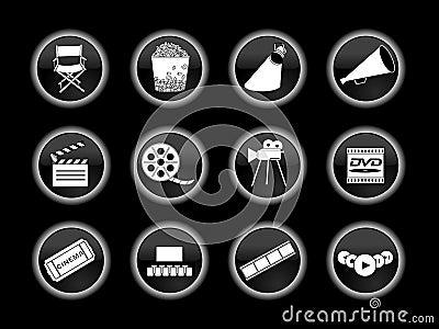Set of movie or cinema icons Editorial Stock Photo