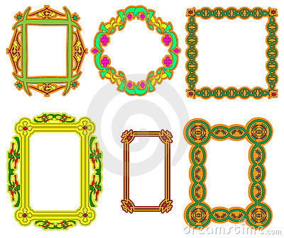 Set of multi-colored frame with a flower