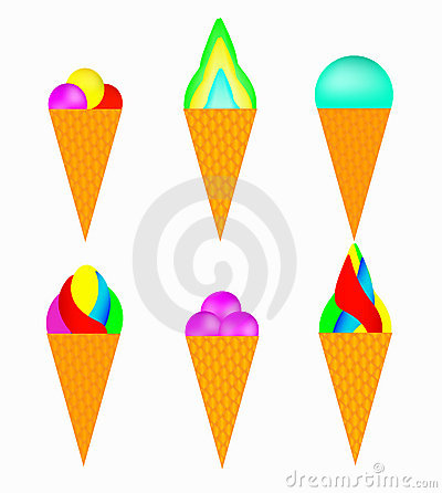 Set of multi-colored ice-cream