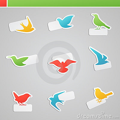 Set of multicolored birds with tags for message.
