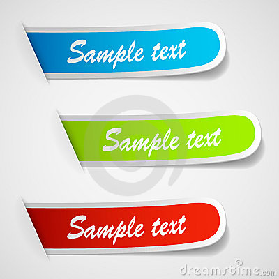 Set of multicolored sticker labels