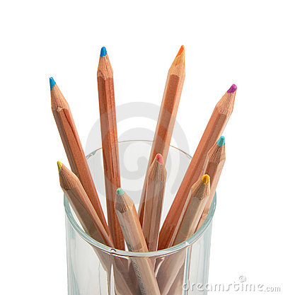 Set of multicolored wood pencils in glass.