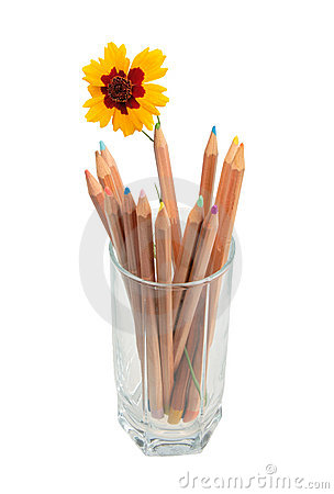 Set of multicolored wood pencils and one yellow fl