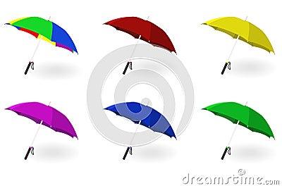 Set of multicoloured umbrellas