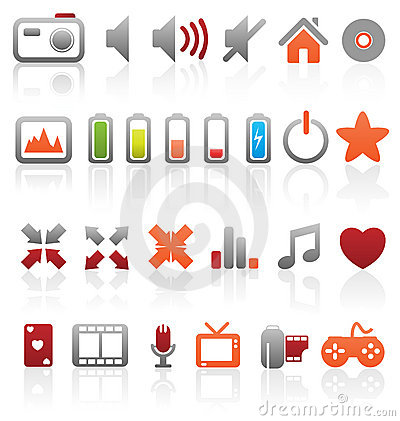 Set of multimedia icons.