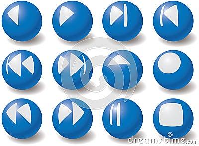 Set of multimedia navigation symbols.