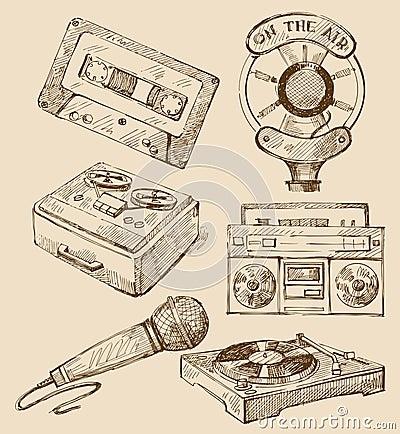 Set of music hand-drawn icons