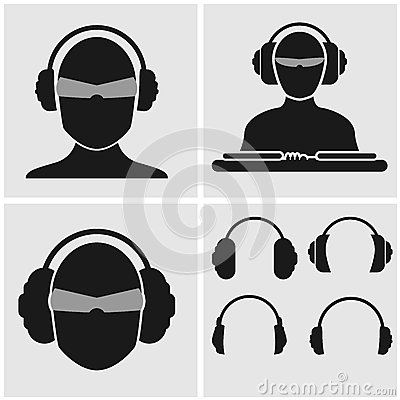 Set of Music Icons with Headphones