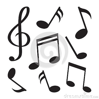 Set of music notes. Black silhouette. Vector illustration Cartoon Illustration