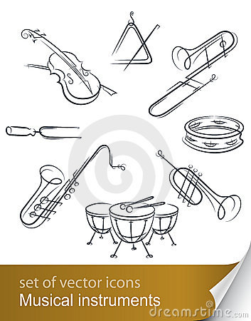 Set musical instrument Vector Illustration
