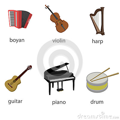 Set of musical instruments Vector Illustration