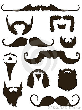 Set of mustache and beard silhouettes