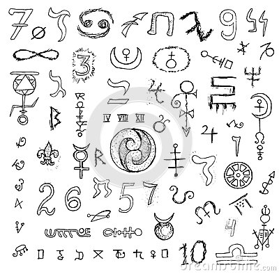 Set With Mystic Symbols And Numbers Stock Vector Image