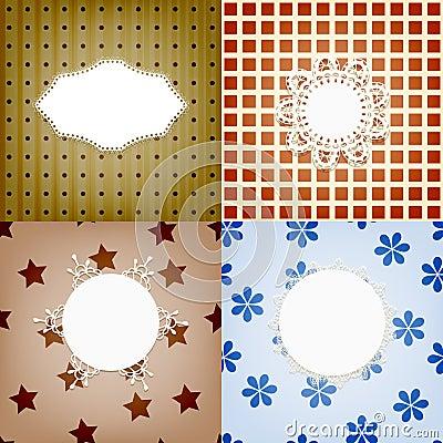 Set of napkins on retro seamless