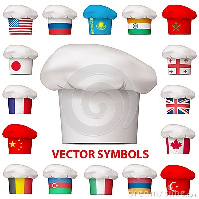 Set of national cuisine icons. Vector symbols.