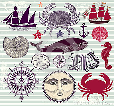 Set of nautical and sea symbols